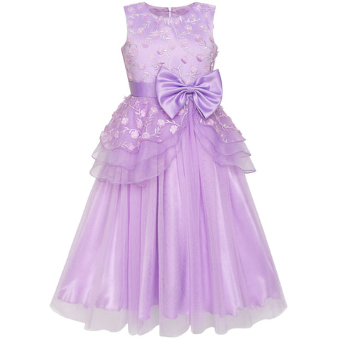 Flower Girls Dress Ball Gown Wedding Bridesmaid Bow Tie Size 6-12 Years
