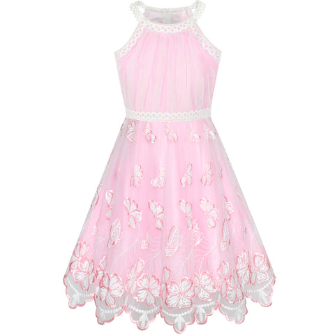 Girls Dress Pink Butterfly Embroidered Halter Dress Party Size 5-12 Years