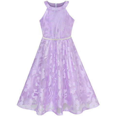 Girls Dress Purple Lace Pearl Wedding Bridesmaid Gown Size 6-12 Years