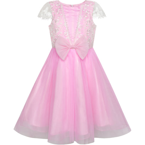 Girls Dress Lace Cap Sleeve Pink Party Flower Girl Dress Size 6-12 Years