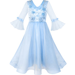 Flower Girls Dress Blue Bell Sleeves Wedding Bridesmaid Size 6-12 Years