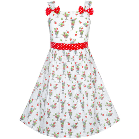 Girls Dress Sundae Ice Cream Bow Tie Summer Sundress Size 2-8 Years