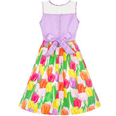 Girls Dress Tulip Flower Purple Party Sundress Size 5-12 Years