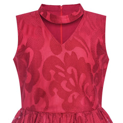 Girls Dress Burgundy Lace Halter Hi-low Dress Dancing Party Size 6-12 Years