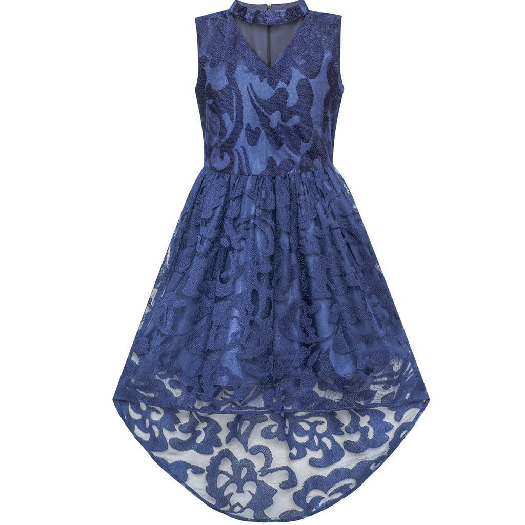 Girls Dress Navy Blue Lace Halter Hi-low Dress Dancing Party Size 6-12 Years