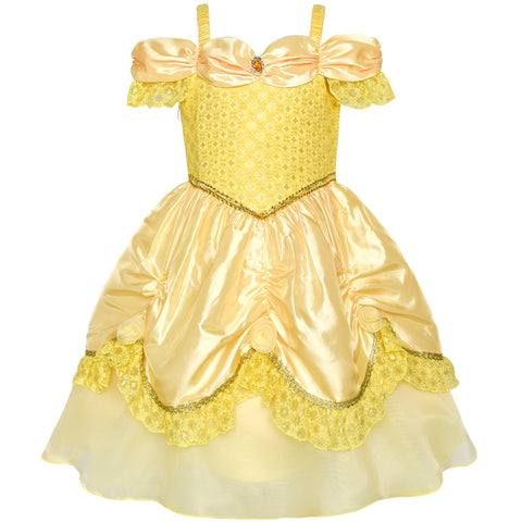 Girls Dress Yellow Princess Belle Costume Birthday Party Size 3-8 Years