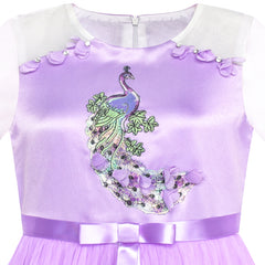 Girls Dress Purple Peacock Illusion Shoulder Bell Sleeve Size 6-12 Years