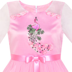 Girls Dress Pink Peacock Illusion Shoulder Bell Sleeve Size 6-12 Years