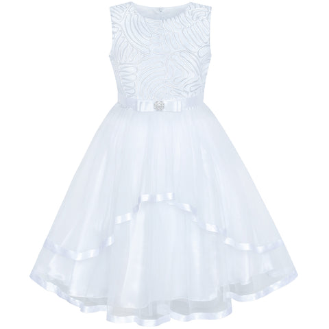 Flower Girl Dress White Wedding Party Bridesmaid Dress Size 4-12 Years
