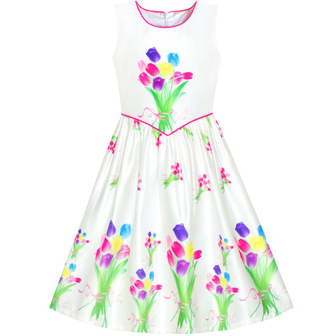 Girls Dress Tulip Flower Bouquet Spring Party Sundress Size 6-12 Years