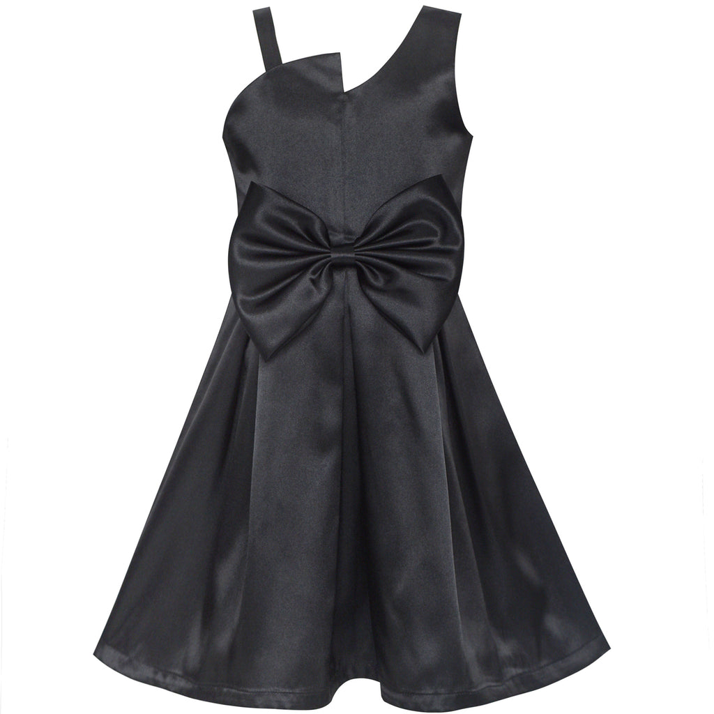 Girls Dress Satin Bow Tie One-shoulder Party Size 6-12 Years