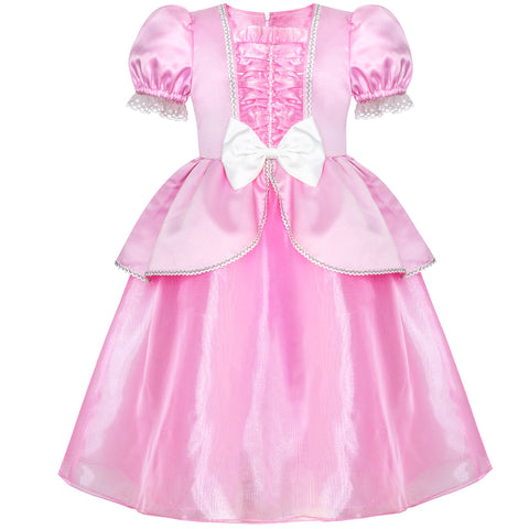 Girls Dress Pink Princess Cosplay Costume Dress Up Party Size 6-12 Years