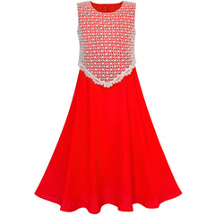 Girls Dress 2-in-1 Red Lace Chiffon Bridesmaid Wedding Party Size 6-12 Years