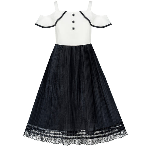 Girls Dress White And Black Chiffon Lace Cold Shoulder Size 6-12 Years