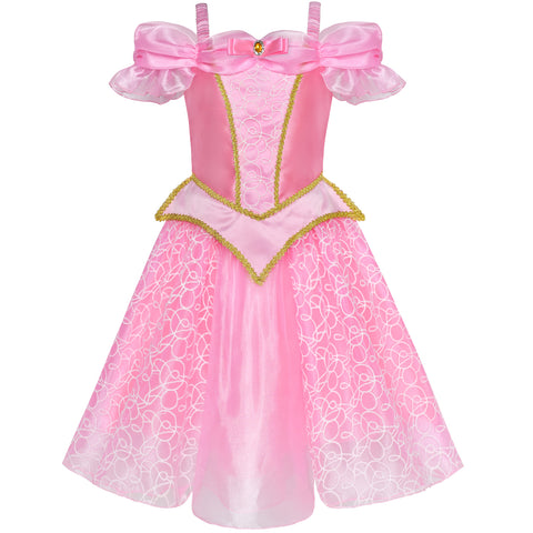 Girls Dress Princess Aurora Costume Briar Rose Dress Up Pink Size 4-10 Years