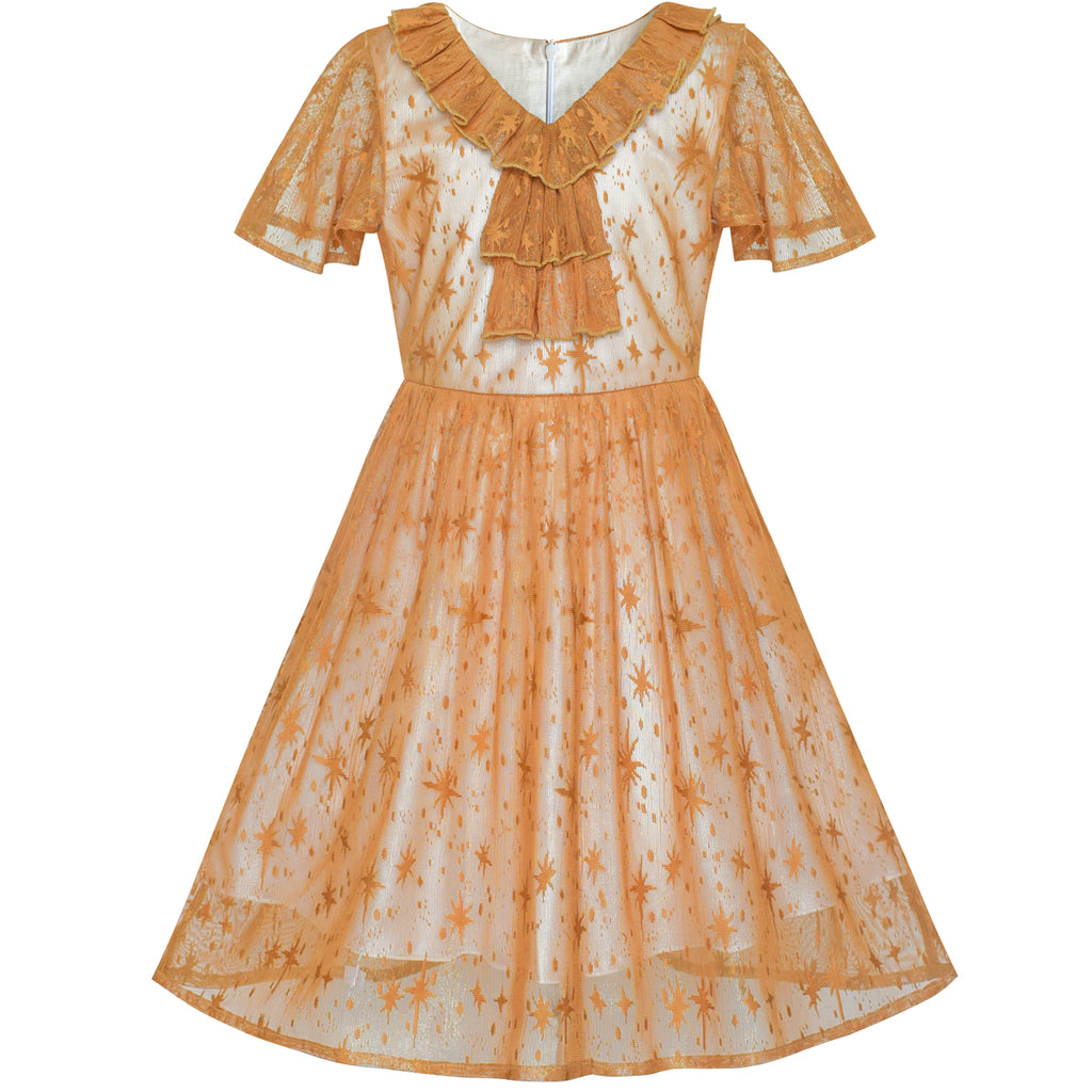 Girls Dress Caramel Star Lace Short Sleeve Pleated Collar Dress Size 6-12 Years