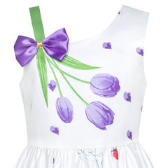 Girls Dress Purple Tulip Flower Bow Tie One Shoulder Size 6-12 Years