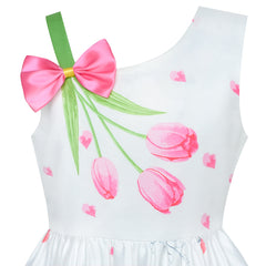 Girls Dress Pink Tulip Flower Bow Tie One Shoulder Size 6-12 Years