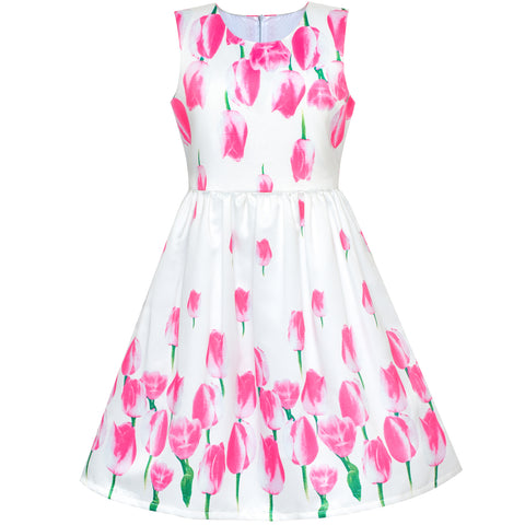 Girls Dress Tulip Flower Party Sundress Size 5-8 Years
