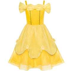 Girls Dress Yellow Princess Belle Costume Birthday Party Size 6-12 Years