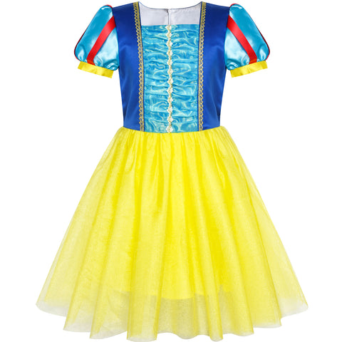 Princess Costume Dress Up Snow White Halloween Party Size 5-12 Years