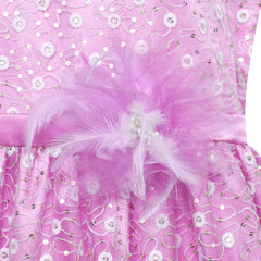 Flower Girl Dress Lace Sequin Flare Purple Wedding Party Size 5-12 Years