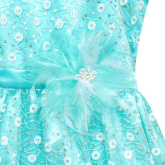 Flower Girl Dress Lace Sequin Flare Blue Wedding Party Size 5-12 Years