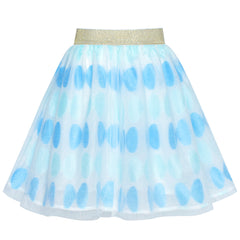 Girls Skirt Blue Bow Tie Sparkling Tutu Dancing Dress Size 4-12 Years