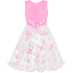 Girls Dress Bow Tie Pink White Color Contrast Sundress Size 4-12 Years