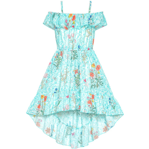 Girls Dress Off Shoulder Chiffon Floral Hi-low Party Dress Size 6-12 Years