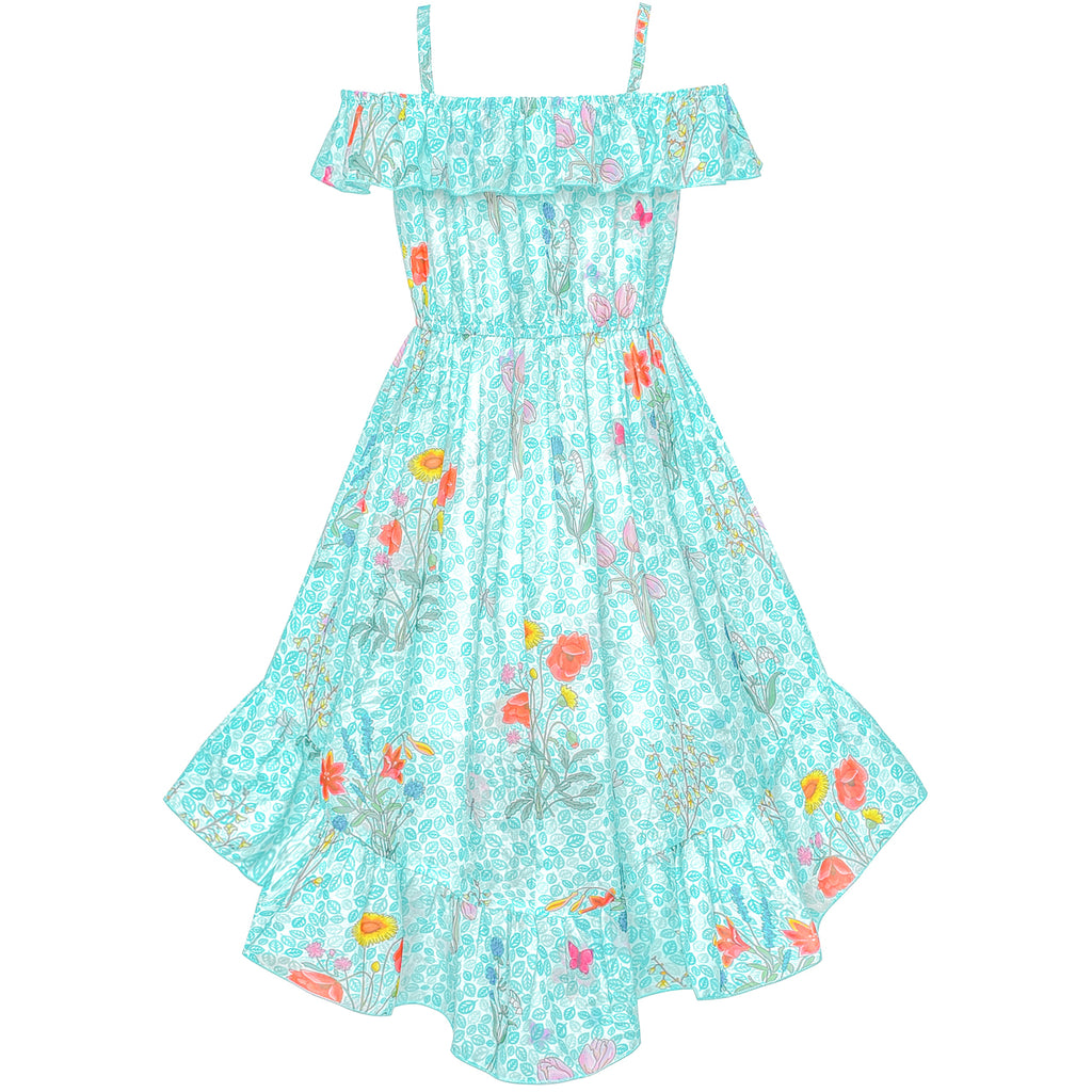 41f367e3d ... Girls Dress Off Shoulder Chiffon Floral Hi-low Party Dress Size 6-12  Years ...