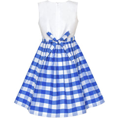 Girls Dress Blue Tartan Plaid Sundress Back School Size 4-10 Years
