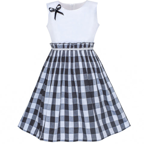 Girls Dress Black Tartan Plaid Sundress Back School Size 4-10 Years