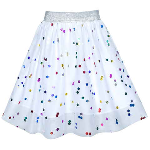 Girls Skirt Colorful Sequins Sparkling White Tutu Dancing Size 2-10 Years