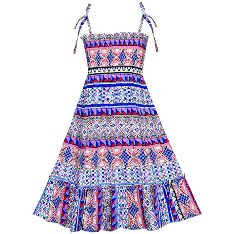 Girls Dress Bohemian Smocked Halter Tank Sundress Size 6-12 Years