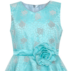 Flower Girls Dress Blue Rose Wedding Party Birthday Size 7-14 Years