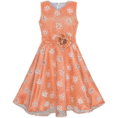 Flower Girls Dress Orange Rose Wedding Party Birthday Size 7-14 Years