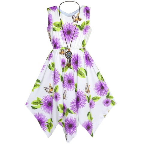 Girls Dress Purple Flower Hanky Hem With Necklace Size 7-14 Years
