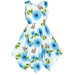 Girls Dress Blue Flower Hanky Hem With Necklace Size 7-14 Years