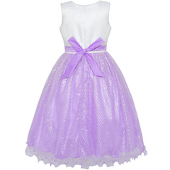 Flower Girls Dress Purple Sequin Wedding Party Bridesmaid Size 4-14 Years