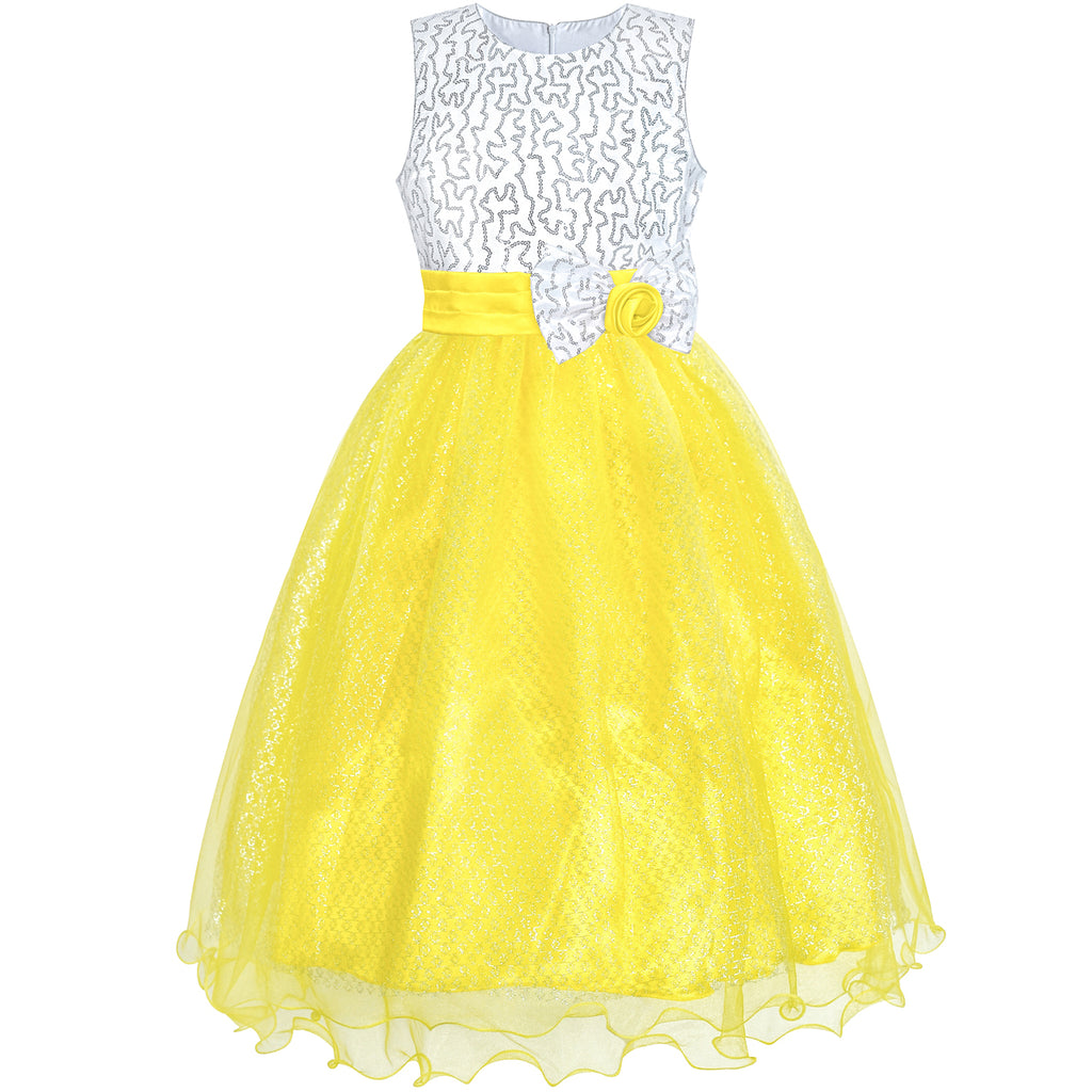 Flower Girls Dress Yellow Sequin Wedding Party Bridesmaid Size 4-14 Years