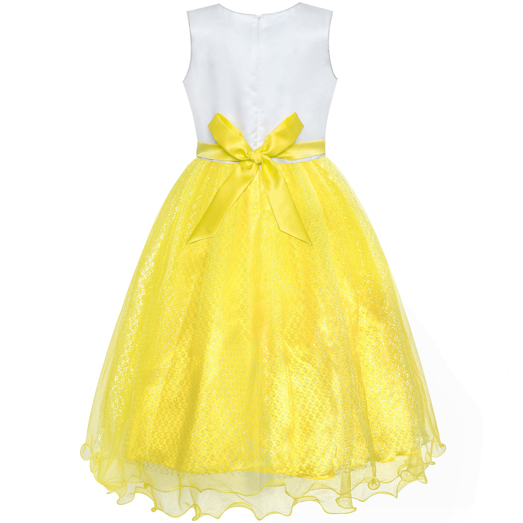 376419442 ... Flower Girls Dress Yellow Sequin Wedding Party Bridesmaid Size 4-14  Years ...