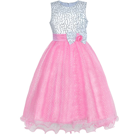 Flower Girls Dress Pink Sequin Wedding Party Bridesmaid Size 4-14 Years