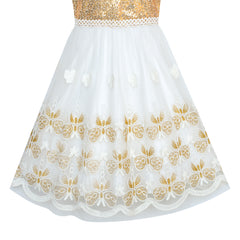 Girls Dress Gold Butterfly Embroidered Halter Dress Party Size 5-12 Years