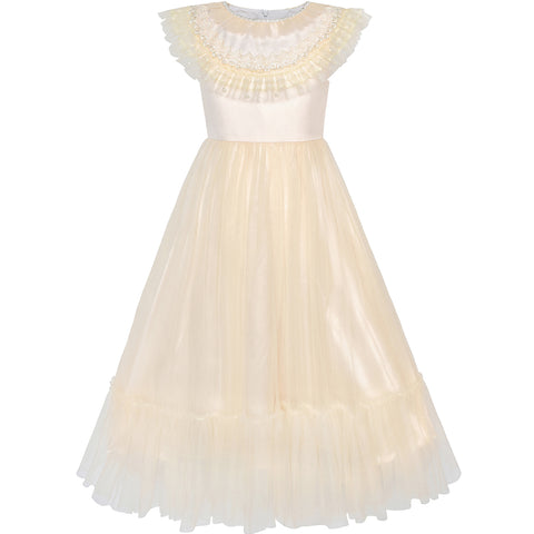 Flower Girls Dress Champagne Vintage Wedding Party Bridesmaid Size 6-12 Years