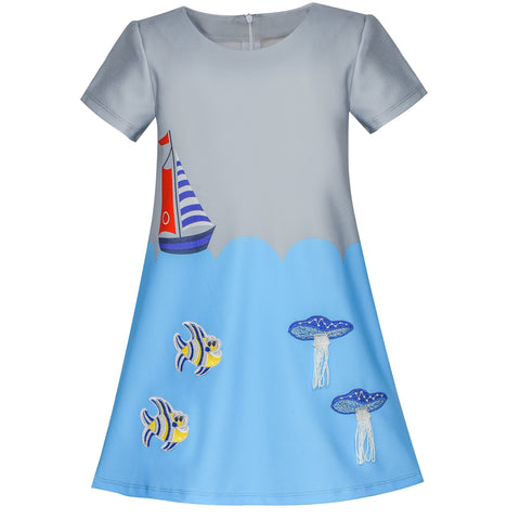 Girls Dress Gray Blue Embroidered Jellyfish Clownfish A-line Dress Size 4-10 Years