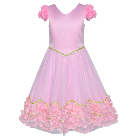 Flower Girl Dress Pink Floral Wedding Bridesmaid Party Size 6-12 Years