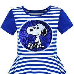 Girls Dress Navy Blue Cotton Dog Reversible Sequin Striped Size 7-14 Years