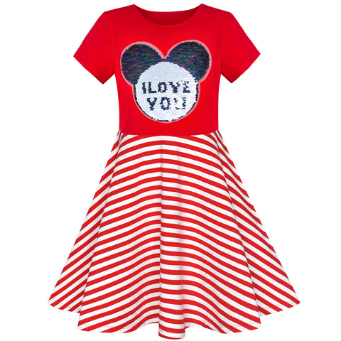 Girls Dress Red Embroidered Magic Color Change Sequin Striped Size 6-12 Years