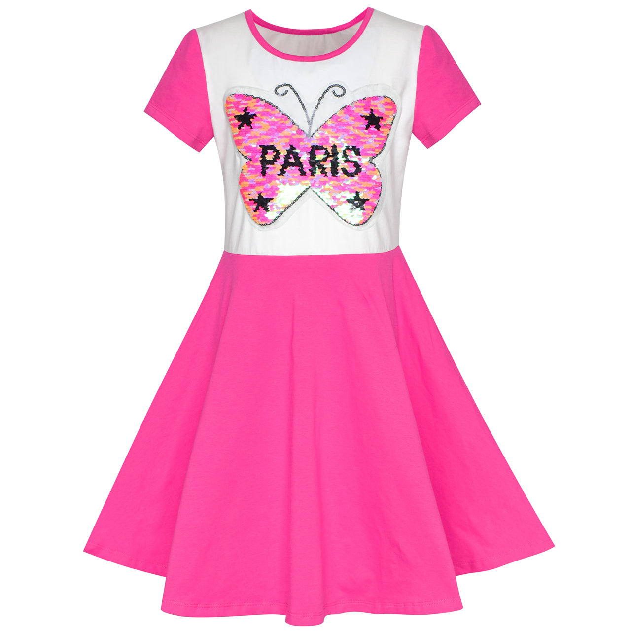Girls  Cotton Pink Butterfly Sequin Top 12-13 Years